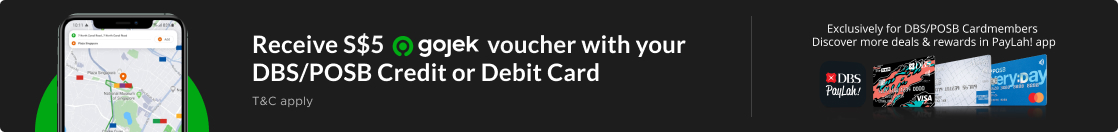 DBS/POSB - Receive a S$5 Gojek voucher with your DBS/POSB Credit or Debit Card